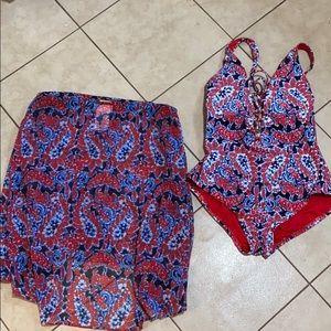 Michael Kors swimsuit/ skirt set